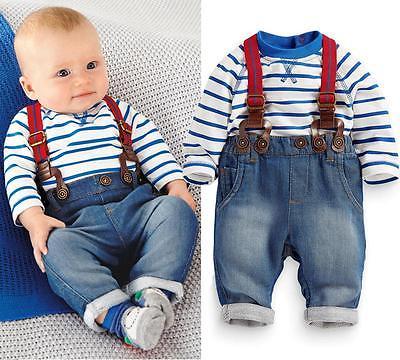 Fashion New Newborn Baby Kids Boy Girls Spring Long Sleeve Clothes Stripe Top + Jeans Pants 2pcs Sets Outfits 3 6 12 24 Monthes штаны для мальчиков baby boy pants kd 6 2015 infantil kd 2 3 4 5 6 xtk 66