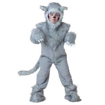子供灰色オオカミ衣装冬コスプレ衣装冬暖かいフリースドレスアップ動物ハロウィーン Disfraces 大人 - DISCOUNT ITEM  25% OFF ノベルティ & 特殊用途