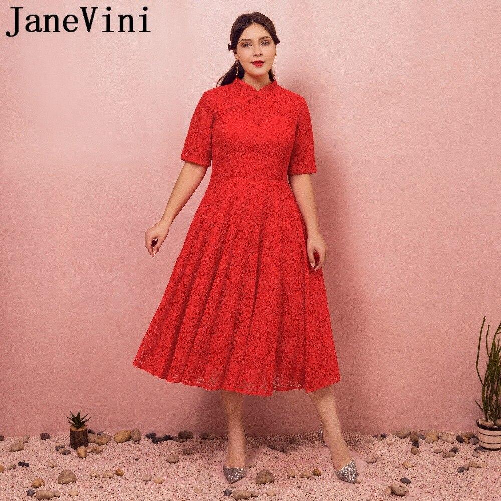 JaneVini 2018 Red Vintage   Bridesmaid     Dresses   High Neck Short Sleeve Tea-Length Lace Zipper Back Plus Size Vestito Lungo Elegante
