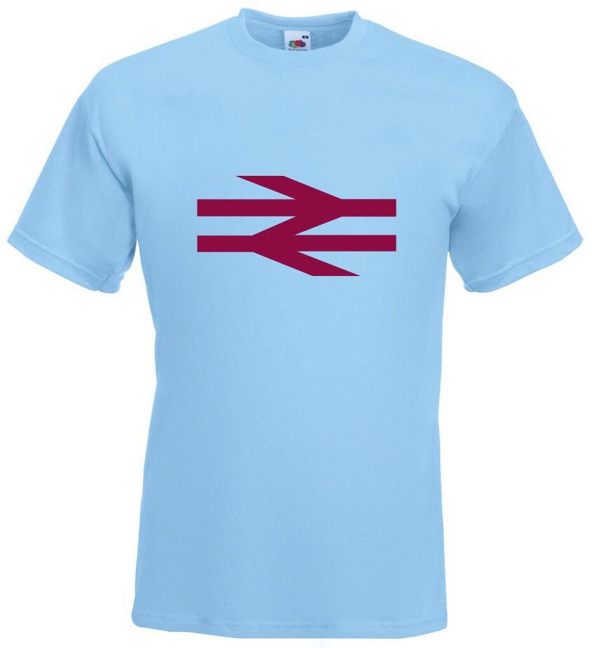 British Rail Arrows Claret Design Sky Blue T-SHIRT Cool Casu
