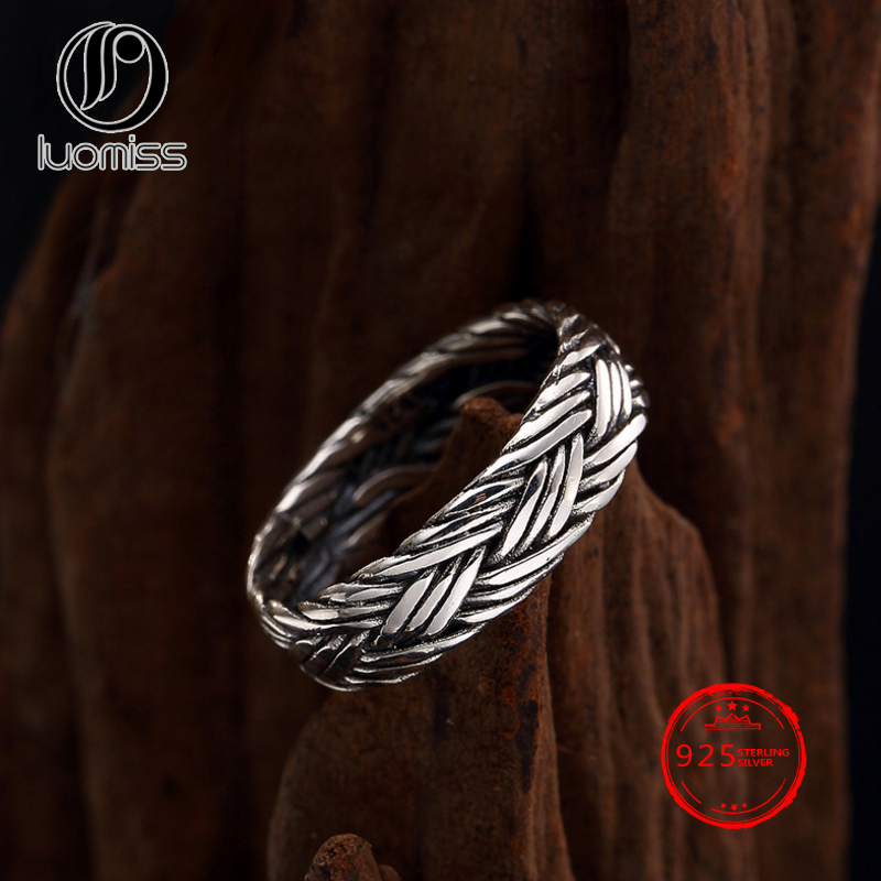 S925 Sterling Silver Hand-woven Ring Antique Thai Silver Men Women Couples Tail Ring Wholesale