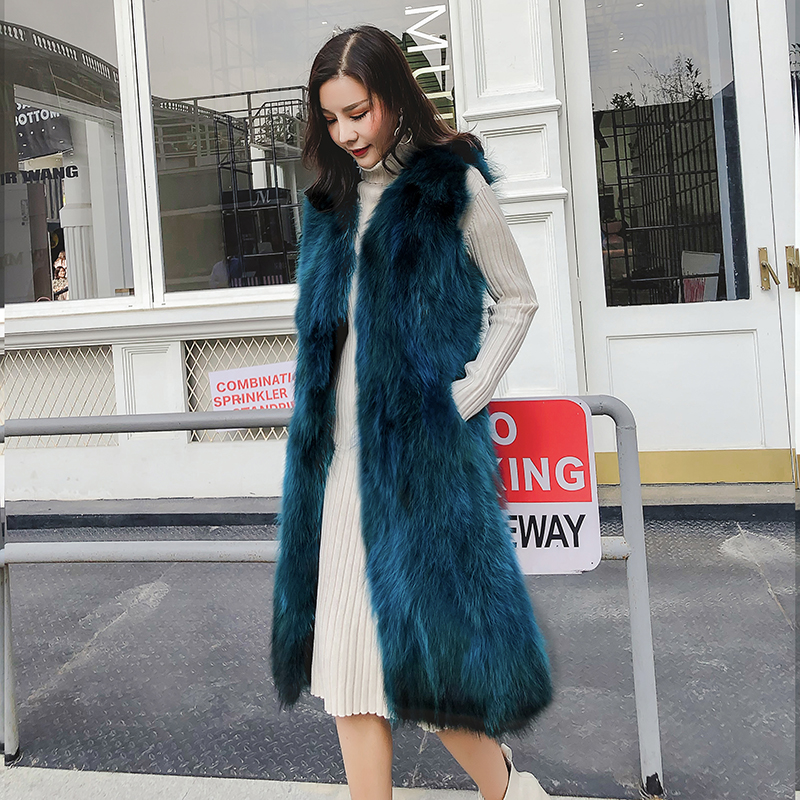Fur Vest Female Fashion New 2019 Autumn And Winter Fashion Long Raccoon Fur Vest