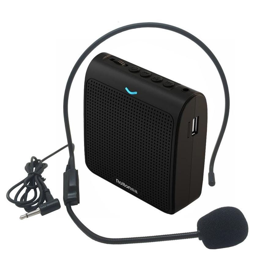 Rolton Portable Microphone Loud Speaker Mini Voice Amplifier With USB TF Card FM Radio For Teacher Tour Guide Promotion K100
