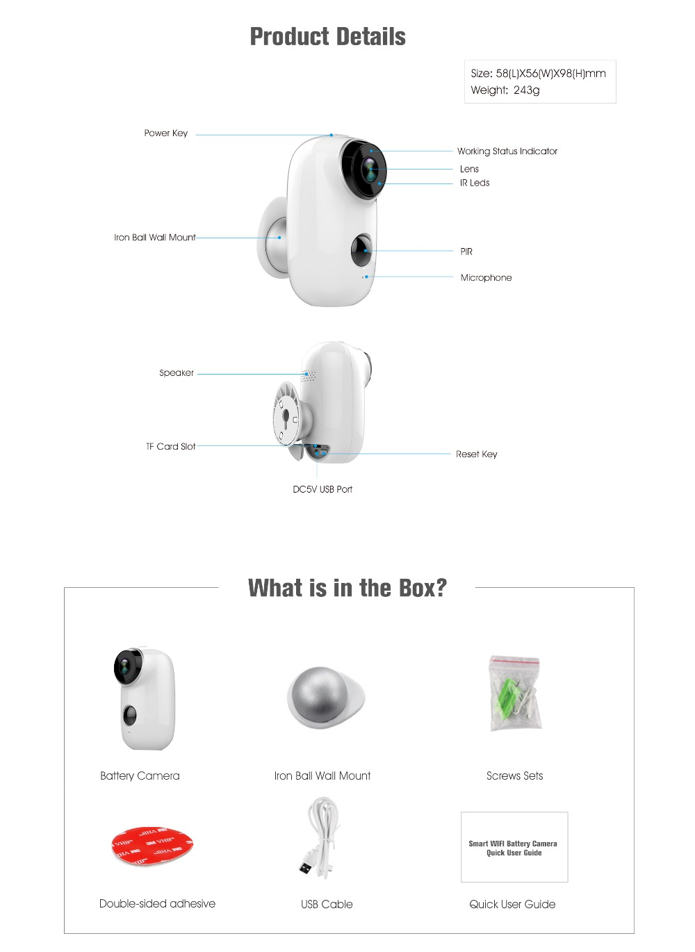 Wire Free Wireless Battery Ip Camera 720p Hd Weatherproof Outdoor Wiring Diagram 5 6 7 8 9