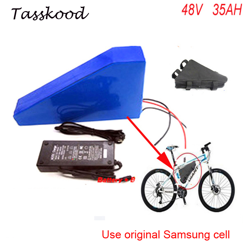 Electric Bike Battery 48V 35AH triangle battery use Samsung cells 48V 1000W bafang bbs03 Electric Bike Lithium Batteries