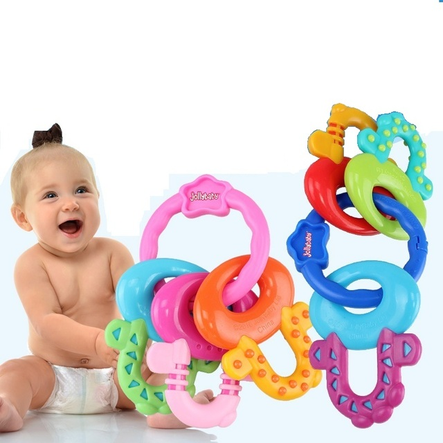 Sozzy Baby Teething Keys Toy Infant Toy Dental Care Pink Blue Grind