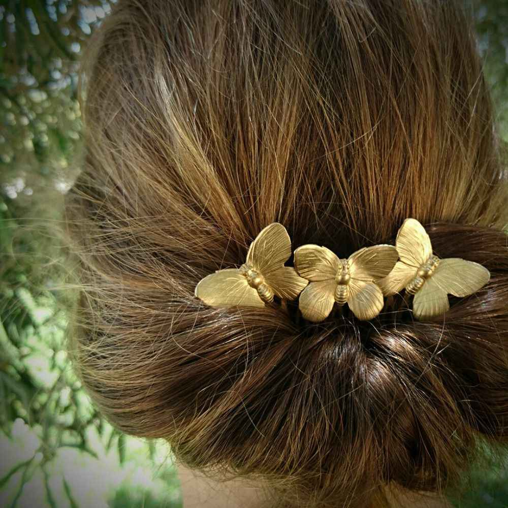 Vintage Butterfly Bridesmaid Headdress Bridal Hair Comb Clip Hairpin Flower Bridal Head Piece For Women girls hair Accessories