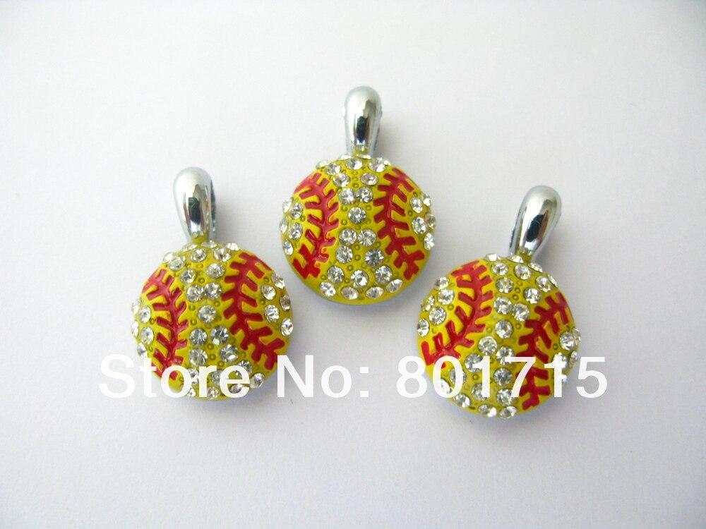 6eb72c0253d6 20 unids rhinestone rojo y amarillo béisbol pendiente de la caída del  encanto fit DIY pela el wristband y el collar HC360