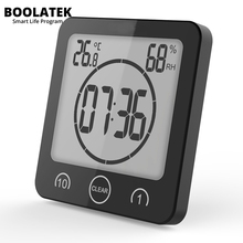 Best price BOOLATEK Digital Timer Clock Alarm Countdown Thermometer Hygrometer Bathroom Shower Makeup Cooking Stopwatch Suction Cup