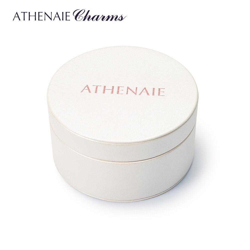 ATHENAIE באיכות גבוהה עגול לבן קופסא מתנת PU עבור אריזת תכשיטי חרוזים קסמי עגילי שרשרת צמיד & צמידים
