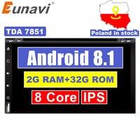 Eunavi Восьмиядерный 2din android 8,1 автомобильный dvd плеер универсальный gps навигация аудио стерео радио с wifi + bluetooth + камера + usb