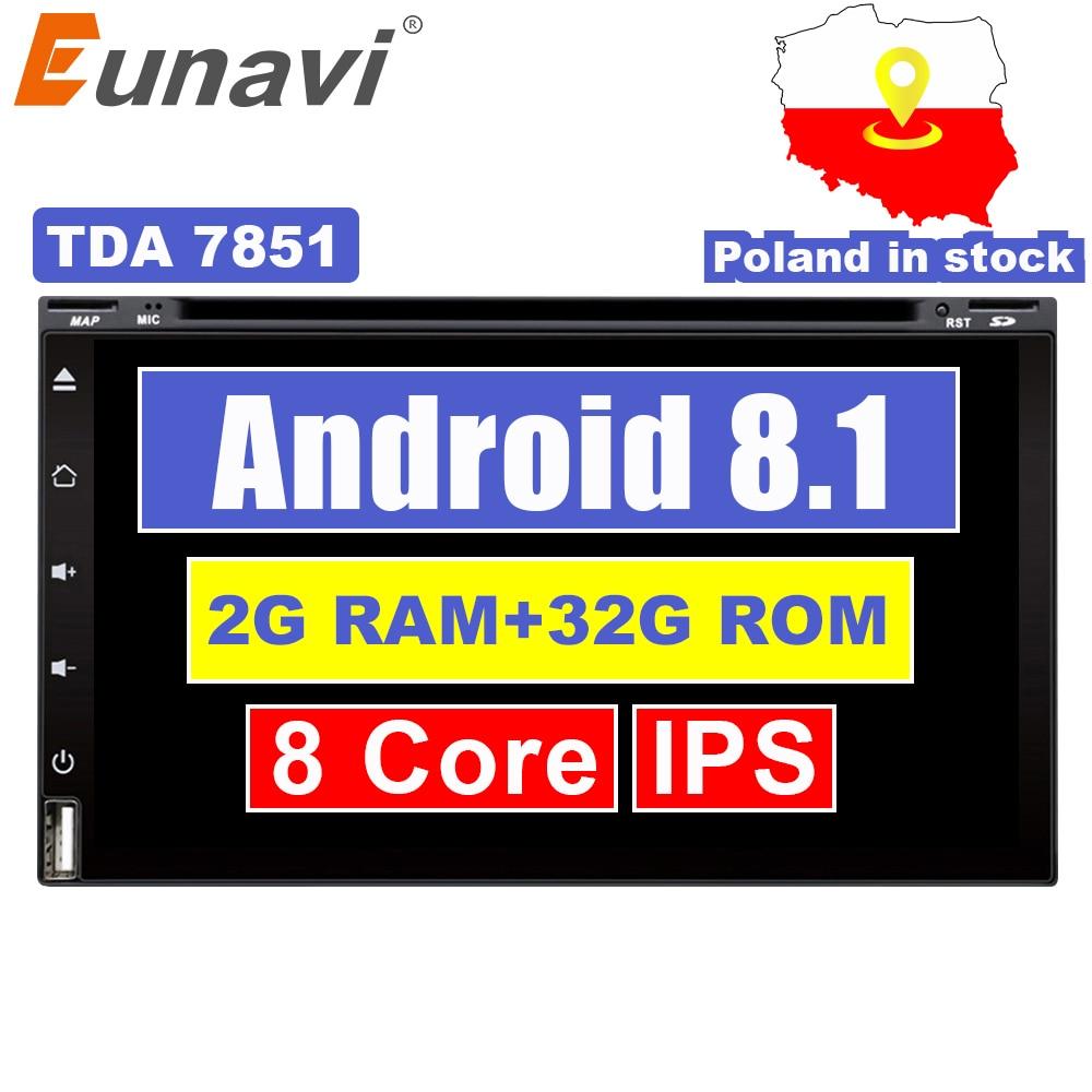Eunavi Octa Core 2din android 8 1 car dvd player universal GPS Navigation audio stereo radio