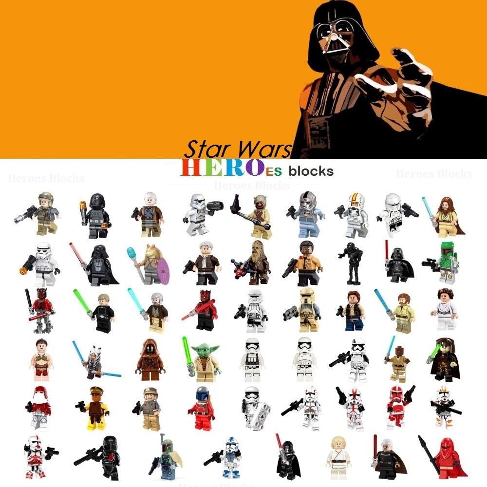 1pc Star Wars Trooper Darth Vader Han Solo Building Blocks Jedi Yoda Obi Wan Boba Fett Figure Bricks Toys Gift Compatible Legoed