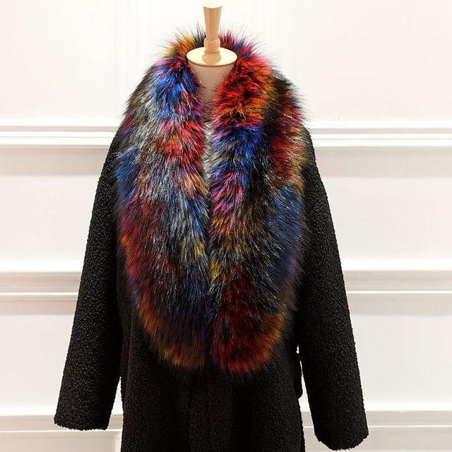 New arrival Lady Blinger super long wide faux fur shawl raccoon fur scarf wide fake fox fur pashmina wraps stole