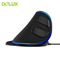 Delux M618 Plus LED Ergonomic Wired Vertical Mouse 6D Gaming Mouse With 1600 DPI Computer Mice