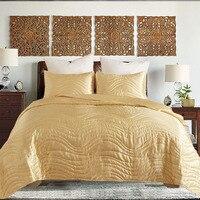 BEIJO RAINHA Luxo 3 pcs conjunto colcha rei queen size conjunto cobertor super macio cetim de seda colcha de retalhos de tecido feito à mão