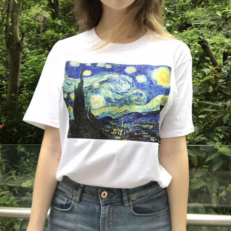 Summer Fashion T Shirt Women Funny Van Gogh Art Oil Painting Starry Night Plus Size Casual Harajuku Short Sleeve Tee Shirt Femme