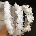 4 Designs Wedding Bridal/Flower Girls Short Head Veil Floral Headband Kids for Baptism Communion KT-VL004