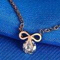Rose gold with CZ diamond bow necklace Titanium steel pendant statement necklaces & pendants women fashion jewelry pingente
