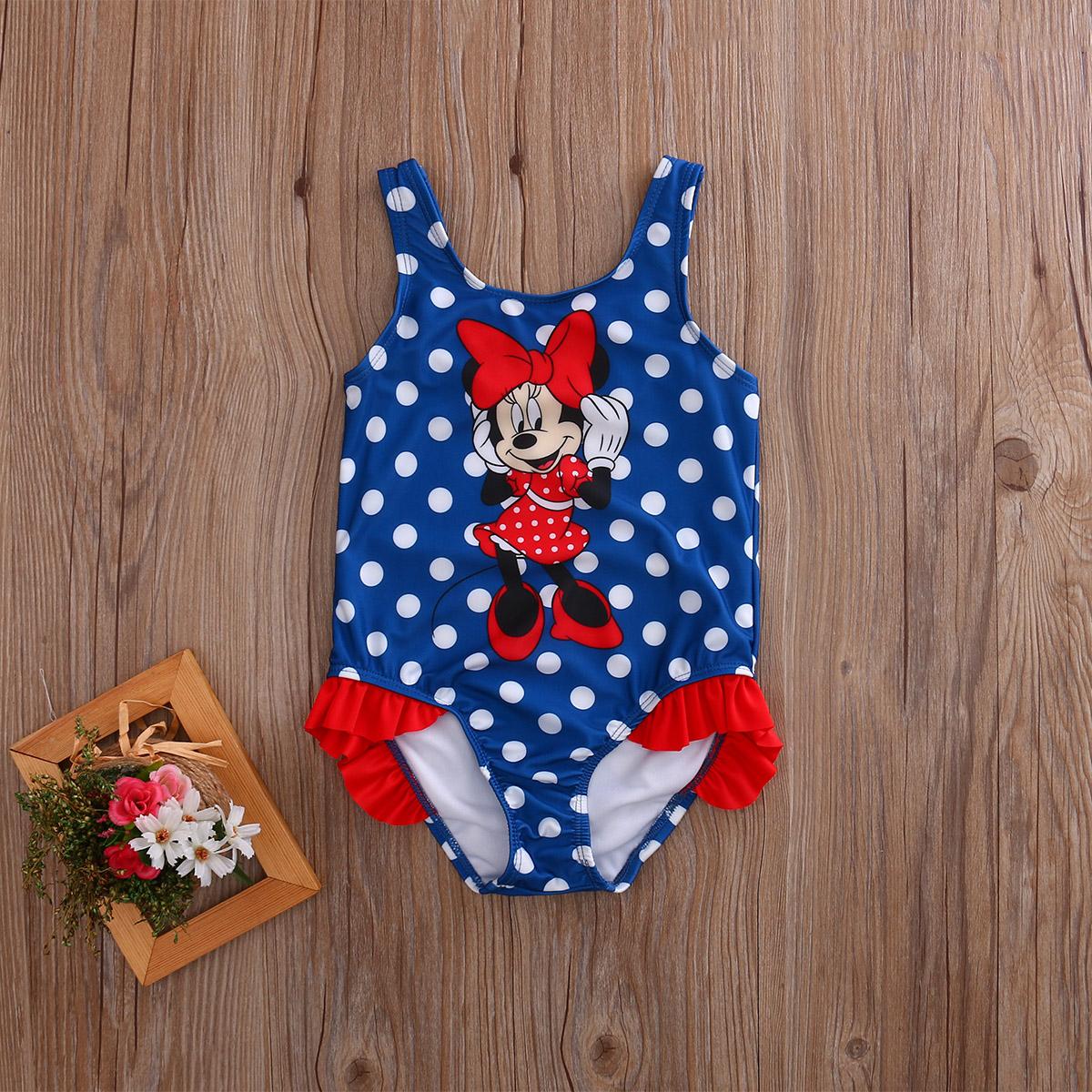 2017 Детский костюм, купальный костюм, купальный костюм в горошек, цельные костюмы для девочек, Танкини с рисунком мышки, От 1 до 5 лет для малыш... 13