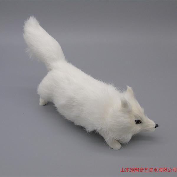 simulation cute white fox 28x14cm model polyethylene&furs fox model home decoration props ,model gift d528