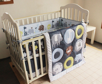 7PCS embroidery Baby Crib Bedding cot Sets Bumpers Sheet постельное белье (4bumper+duvet+bed cover+bed skirt)