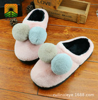 037Winter new cotton slippers indoor and outdoor home non slip girls models cute two color ball hair cotton tow