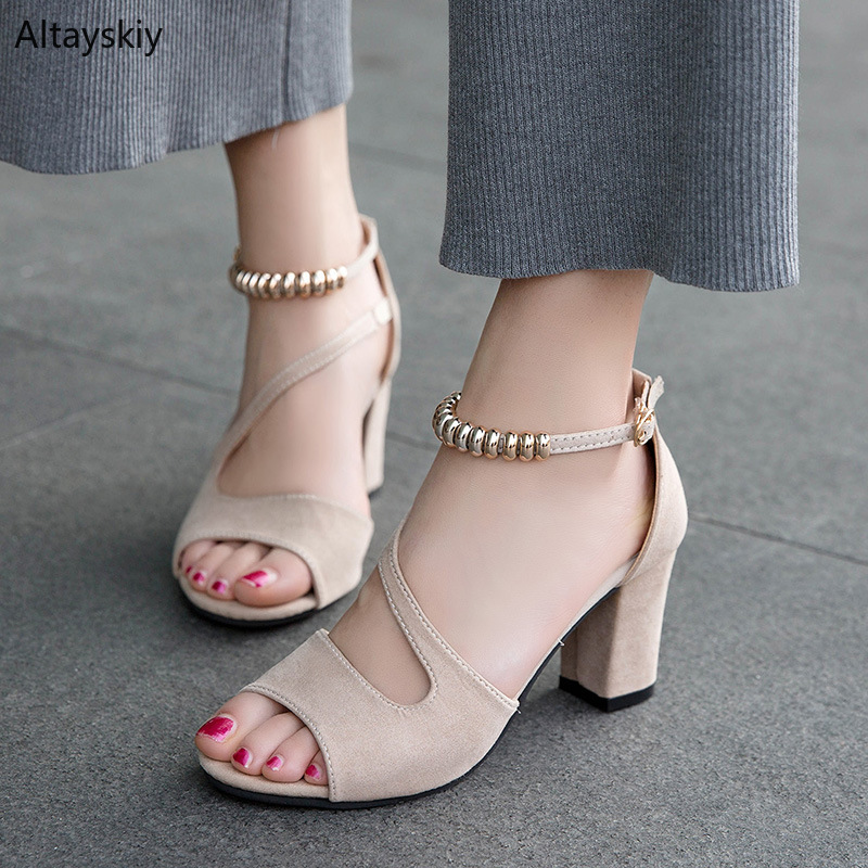 Sandals Women Simple Sweet Buckle High Square Heels Womens Elegant Leisure Ladies All-match Korean Chic Ankle Strap Shoes TrendySandals Women Simple Sweet Buckle High Square Heels Womens Elegant Leisure Ladies All-match Korean Chic Ankle Strap Shoes Trendy