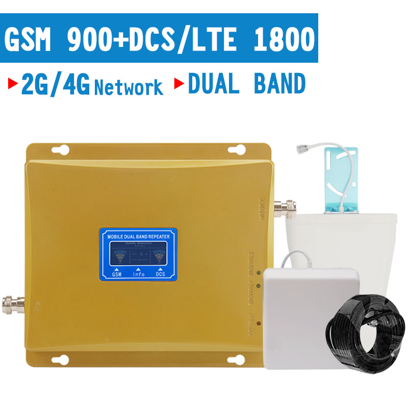 2G 4G Cellphone Signal Repeater 2G GSM 900mhz 4G LTE DCS 1800mhz Dual Band Cellular Amplifier 70dB Gain LCD Display Booster Set
