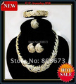 High Quality!!Gold Plated Luxury Sparkle Crystals Feather Leaf Style Jewelry Sets Free Shipping!!