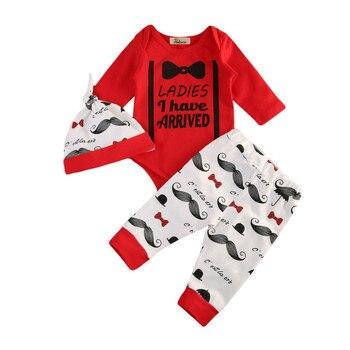72783da23 3 piezas recién nacido bebés niñas bigote conjuntos de ropa de algodón  barba Top Romper pantalones largos sombreros ropa conjunto traje de sol 0-2Y