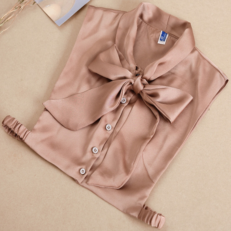 Blouse Sweater Decorative Chiffon OL Love Ladies Handmade Pearls Bead Drill Detachable Fake Ribbon Bow Decorative False Collar