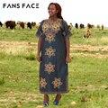 Африканские Женщины Базен Riche Платье Традиционных Африканских Одежды Плюс Размер Короткие Рукава Dashiki Афро Хлопок Платье Частный Заказ