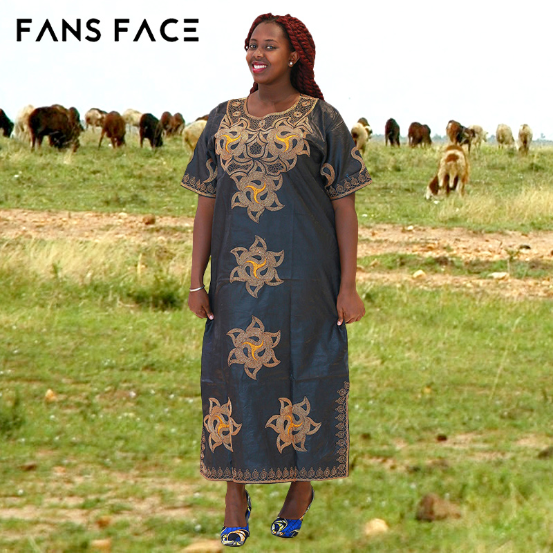 8f3f3e8c68 African Women Bazin Riche Dress Traditional African Clothing Plus Size  Short Sleeves Dashiki Afro Cotton Vestido Private Custom -in Africa  Clothing from ...