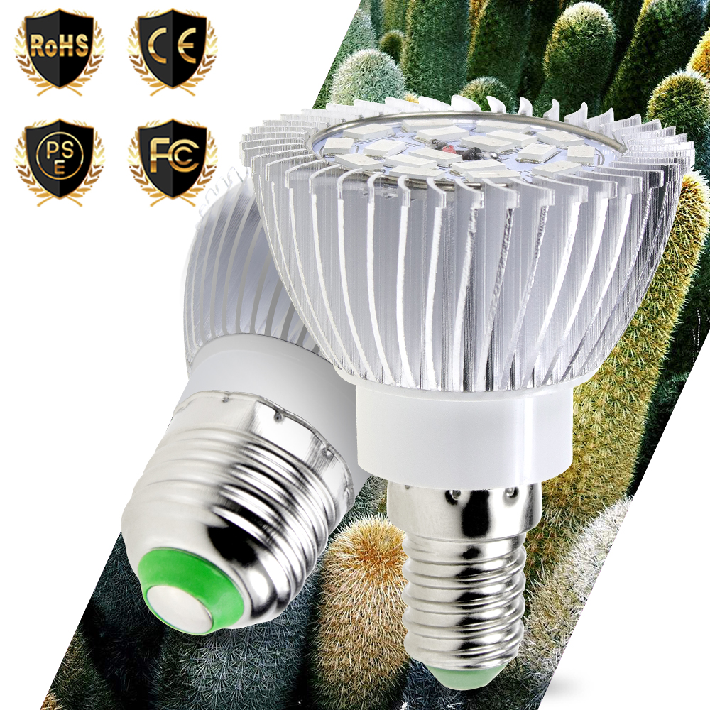 New E27 Led Plant Growing Lamp E14 Led Seedling Bulbs 18leds Full Spectrum Light SMD 5730 Indoor Grow lamps AC 85-265V Red/Blue