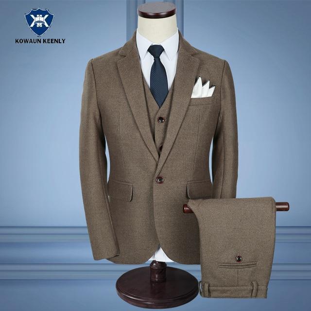 3 Piece Gentlemen Classic Business Suits for Men Slim Fit Vintage ...