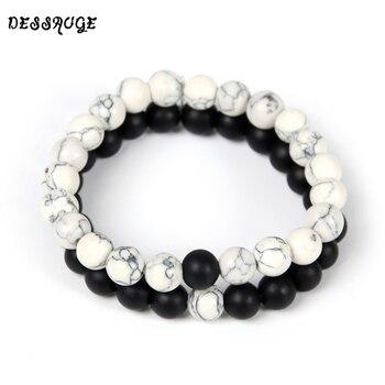 2Pcs/Set Couples Distance Bracelet Classic Natural Stone White and Black
