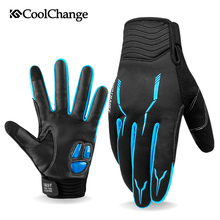цена на CoolChange Winter Thermal Windproof Cycling Gloves Outdoor Sport MTB Bike Glove Full Finger GEL Bicycle Gloves For Men Woman