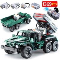 1369pcs City RC BM 21 Rocket Turret De TECH Bricks Military Technic 2 in 1 Off Road Climbing Building Blocks Kid Toys