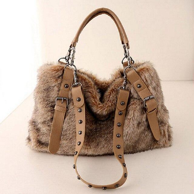 Осень 2017 г. и зимой Для женщин сумка мех женские Ёмкость моды молнию сумки Высокое качество Для женщин массаж сумки 749