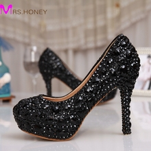 Black Rhinestone Crystal Bridal Shoes Women Evening Party Dress Shoes Wedding Pumps Platform Rhinestone Bling Dress Prom Shoes