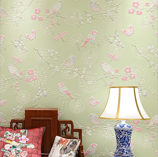 Modern Bird Wallpaper Home Decor Flower Wall Paper Non Woven Wallpaper 3D  Background Wallpaper Living Room