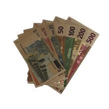 Notas comemorativas de euro banhadas a ouro 24k, 7 peças, 5-500 dólares, dinheiro falso, coleção, lembrança, alta qualidade, antiguidade, decoração banhada