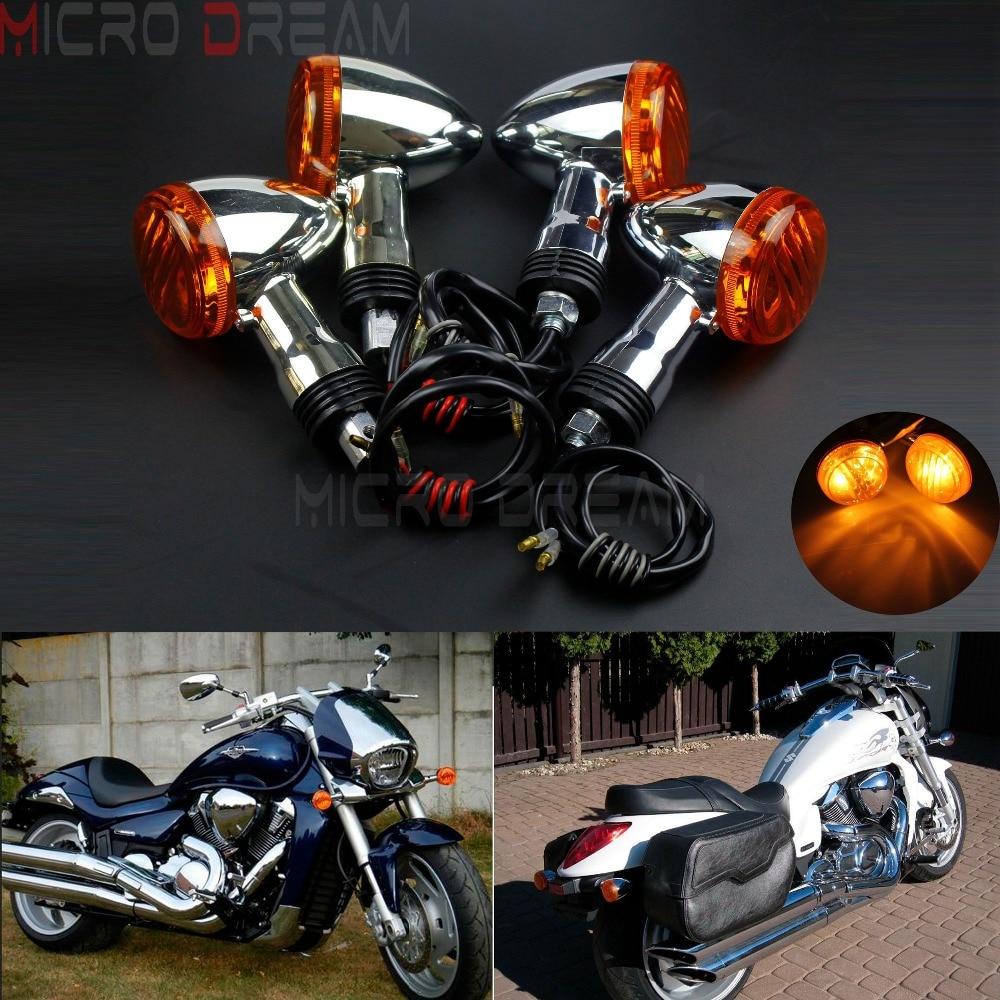 4pcs Motorcycle Chrome Front & Rear Turn Signal Light 12v Amber Flasher ndicator For Suzuki Boulevard M109R  VRZ1800 2006 2015   - title=
