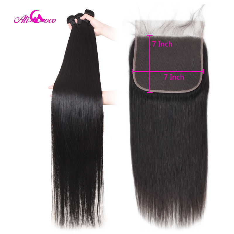30 Inch 32 34 36 38 40 Inch Human Hair Bundles With Closure Straight Brazilian Hair Weave Bundles With Lace Closure Ali Coco