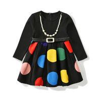 Pudcoco Flower Girl Polka Dots Kids Toddler Party Wedding Sashes Long Sleeve Black Colors Dress Princess