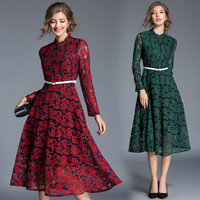 Women S Clothing Europe Style 2018 New Spring Autumn Fashion Stand Lace Dress Vintage Belt Flowers