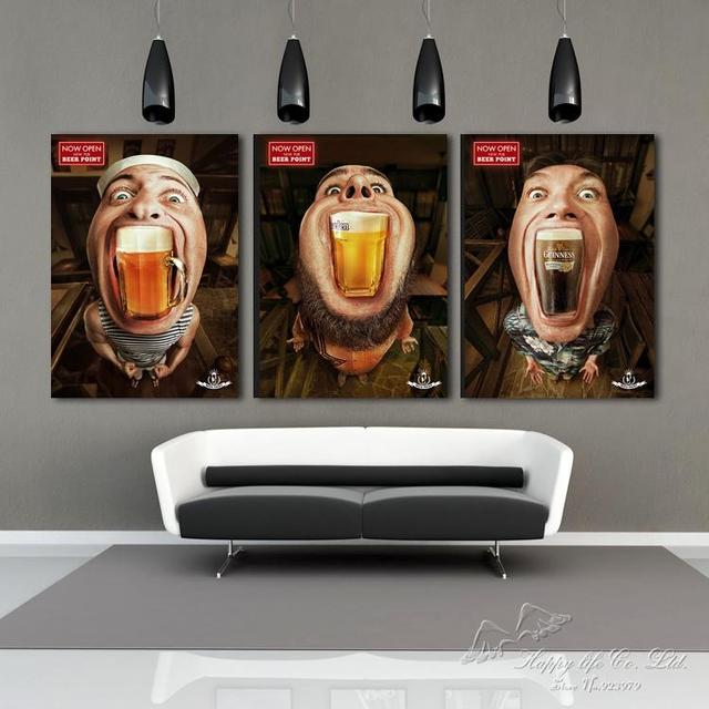 Entzuckend 3 Panel Modern Oil Painting Home Decorative Art Picture Paint On Canvas  Prints Painting Drink Beer