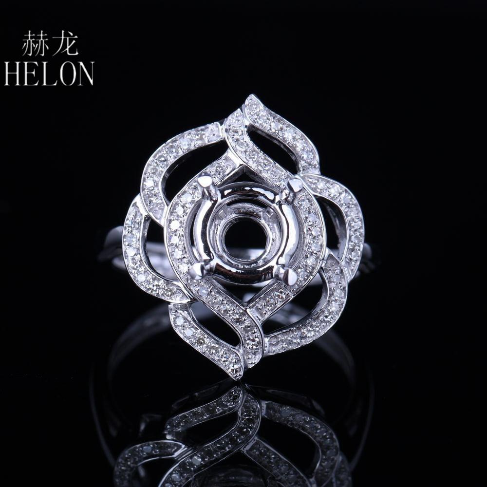 HELON 7.75 8.75 ミリメートルラウンドカットスターリングシルバー 925 天然ダイヤモンドセミマウントリング女性の花の結婚式の流行ジュエリーリング  グループ上の ジュエリー & アクセサリー からの 指輪 の中 1