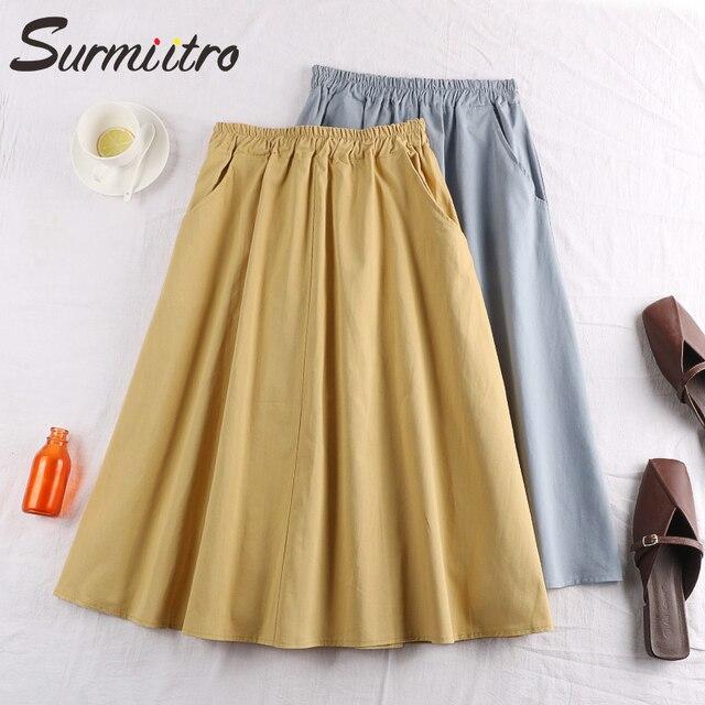Surmiitro 100% Cotton Midi Summer Skirt Women 2021 Fashion Korean Pocket A-line Sun School Black White High Waist Skirt Female 2